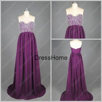 Arrival Long Purple Prom Dress With Beading - Purple Prom Dress / Cheap Prom Dresses / Long Party Dress / Purple Party Dress