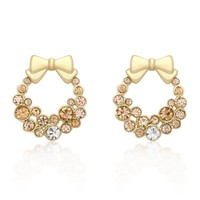 Holiday Wreath Champagne Crystal Earrings