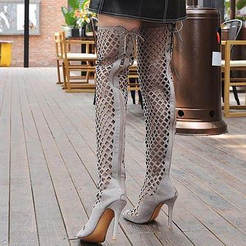 Gladiator Sandals Peep Toe Over the knee Long Boots Stiletto