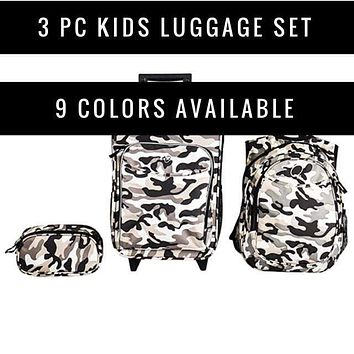 Obersee Pre-school Luggage 3 Piece Set | Kids Rolling Suitcase | Toddler Travel Backpack | Kids Toiletry Case