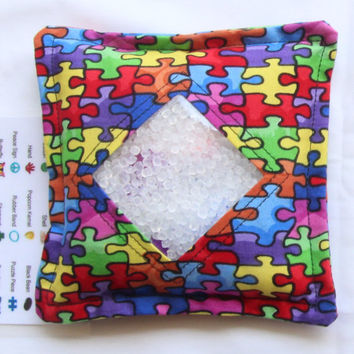 I Spy Bag with detachable item list, Autism Awareness, Puzzle Pieces, Support Autism Awareness