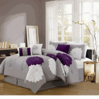 7 Piece Queen Provence Embroidered Comforter Set