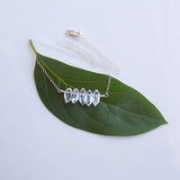 Herkimer Diamond Necklace in Sterling Silver - 5 Stone Necklace - OOAK Jewelry