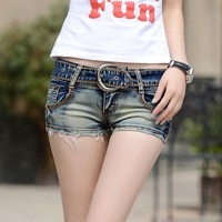 2018 new summer Fashion casual sexy cotton low waist skinny brand female women girls jeans shorts clothes 79130