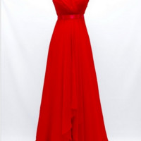 KC131549 Red Prom Evening Dress with Jeweled Shoulders by Kari Chang Couture