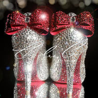 """CHARLIE CO. """"Heart & Sole"""" Clear Crystal Pink Bows Pink Heart Closed Toe / Peep Toe Heels Bridal shoes Prom Strass Diamond Evening Bridal"""