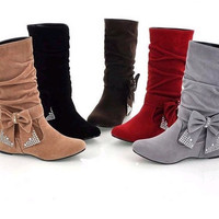 Women's Fashion Suede Leather Mid-Calf Wedge Heel Casual Ankle Boots = 1932118340