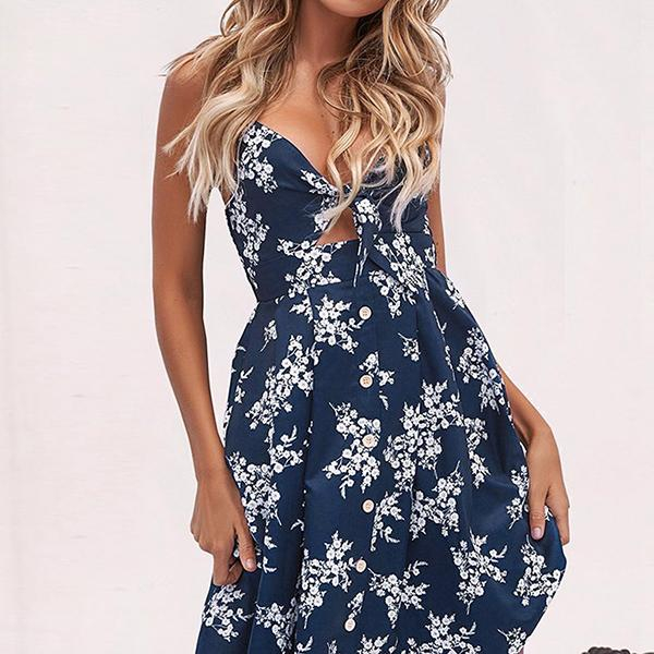 Image of Sexy Strap V Neck Midi Dress Women Floral Print Backless Beach Party Dress
