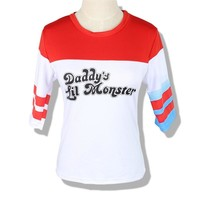 High Quality Cosplay Suicide Squad Harley Quinn Package Include: 1 * T-Shirt Shorts Batman Joker Daddy's Lil Monster Clown Print