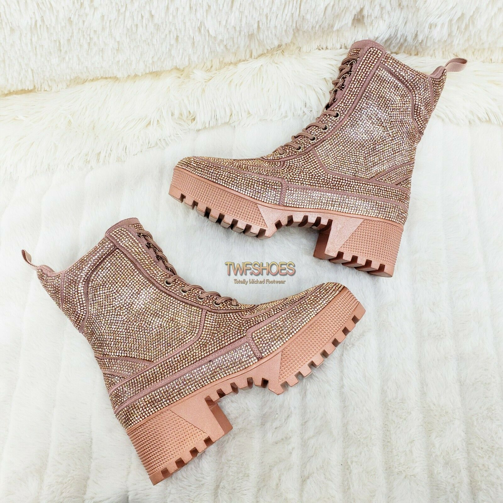 Image of CR Queen Pin 2 Rose Gold Rhinestone Lace Up Platform Sneaker Combat Ankle Boots
