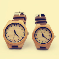 YAN & LEI Bamboo Watch with Leather Belt