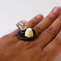Kawaii Miniature Food Ring  Ice Coffee and by fingerfooddelight
