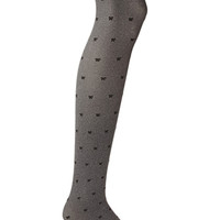 FOREVER 21 Bow Pattern Tights Charcoal/Black
