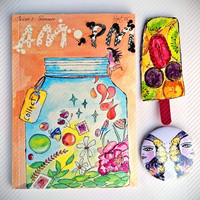 ZINE Pack   AM: PM Issue 1 - Summer   Magazine   Free Popsicle Book Mark   Free Sticker Sheets   A5 Size   Freebies   Free Pin  
