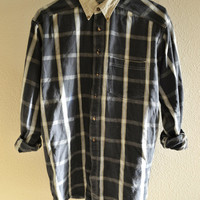 Blue and Khaki Collar Flannel Button Down Oversized 90s Vintage L