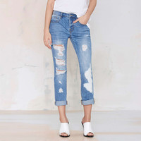 Ripped Denim Cropped Pants