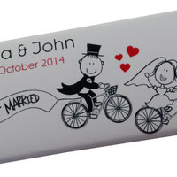 Cute Cycling Wedding Couple 40g Chocolate Bars Wedding Favours x 6