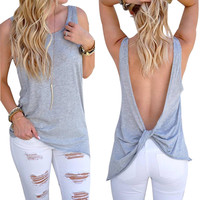 Sexy Backless Cotton Tank Top Women 2017 Casual Sleeveless O neck Regata Feminina Black White Gray Ladies Vest Haut Femme