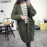 YiZiKKCO Brand 2016 New Autumn Winter Woman Sweaters Cardigans Knitted Sweater Womens Cardigan Pull Femme Sweter Mujer WHD264