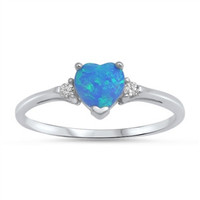 925 Sterling Silver Simulated Diamond and Lab Blue Opal Heart Ring 7MM