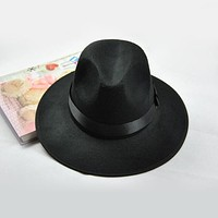 Wide Brim Winter Wool Fedora Hat
