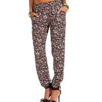 Black/Rose Green Floral Slouch Pants