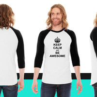 Keep Calm and be Awesome24 American Apparel Unisex 3/4 Sleeve T-Shirt