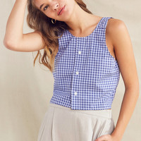 Urban Renewal Remade Checked Oxford Tie-Back Top | Urban Outfitters