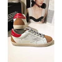 GOLDEN GOOSE GGDB SSTAR Superstar Red Brown Leather Sneakers Shoes