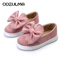 COZULMA 2018 Spring Kids Shoes For Girls Fashion Flock Sport Shoes With Bow Sneakers For Girls Children Casual Brogue Shoes