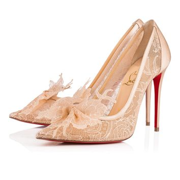 Delikatissima 100 Version Nude Lace Chantilly - Women Shoes - Christian Louboutin