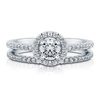 BERRICLE Sterling Silver AAA Round Cubic Zirconia CZ Halo Womens Engagement Wedding Bridal Ring Set