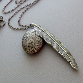 Antique Silver Feather Locket Necklace