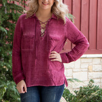 Out In Style Faded Tunic With Roll Tab Sleeves ~ Cranberry ~ Sizes 4-10
