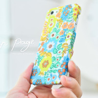 Apple iphone case for iphone iphone 5 iphone 4 iphone 4s iPhone 3Gs  : Abstract cute vintage blue and yellow floral pattern