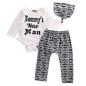 Kids born Baby Boy Romper Tops +Letters Long Pants Hat Outfits Clothes