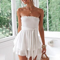 Ruffle Female Sexy Dress Casual Beach Sexy Strapless Dresses Bow Solid Elegant Dress