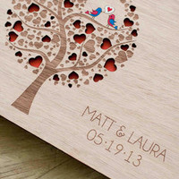 Handmade Custom Wood Wedding Guest Book (Cutie Pop)