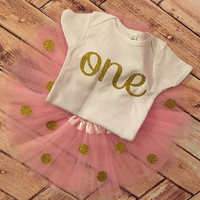 One Pink and Gold 1st Birthday Party Glitter matching Personalized Custom bodysuit birthday outfit glitter Cake Smash photo