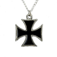 Small Black Inlay Iron Cross Necklace Heavy Metal Pendant