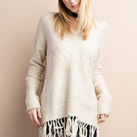 Deep V-Neck Fringe Sweater