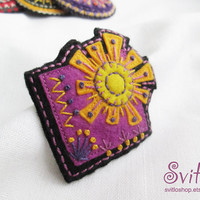 Ethnic Art Brooch | Textile Art Brooch | Violet Yellow Orange Brooch | Textile Jewelry | Idea for Gift | Brooch Pin | Bright Juicy Colors