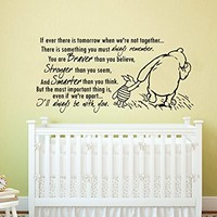 Quote Wall Decal Vinyl Sticker Decals Quotes Winnie the Pooh Quote - Braver Stronger Smarter - Nursery Decor Kids Baby Room Bedroom ZX210