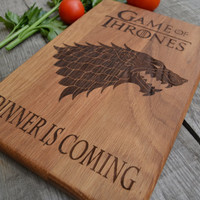 Dinner Is Coming Cutting Board Game of Thrones Kitchen Decor Git for Dad Wooden Cutting Board Cookware Personalized Gift Gift for Him