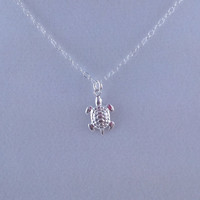 Tiny Sterling Silver Sea Turtle Necklace- Sterling Silver Chain
