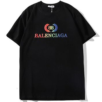 Balenciaga 2019 new wheat spike rainbow embroidery double B letter loose round neck T-shirt Black
