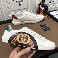 GUCCI simple men's and women's wild personality flat white shoes