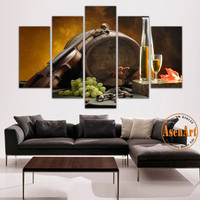 5 Panel Wall Art Grape Wine Barrel Violin Painting for Kitchen Bar Printed Canvas Painting Still Life Wall Paintings Unframed