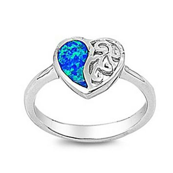 Heart Blue Lab Opal with Swirls Engraved into Sterling Silver Band