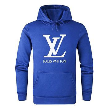 LV Louis Vuitton Autumn And Winter New Fashion Letter Print Women Men Leisure Hooded Long Sleeve Sweater Blue